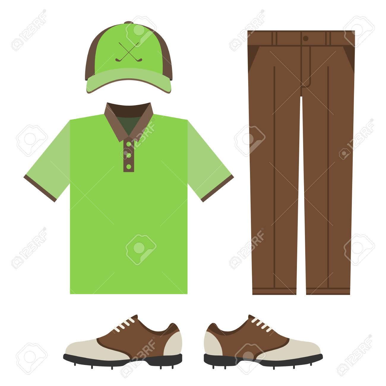 golf colorful clothes set polo t shirt cap pants and shoes rh 123rf com Jeans Clip Art Blank Shirts and Pants Clip Art