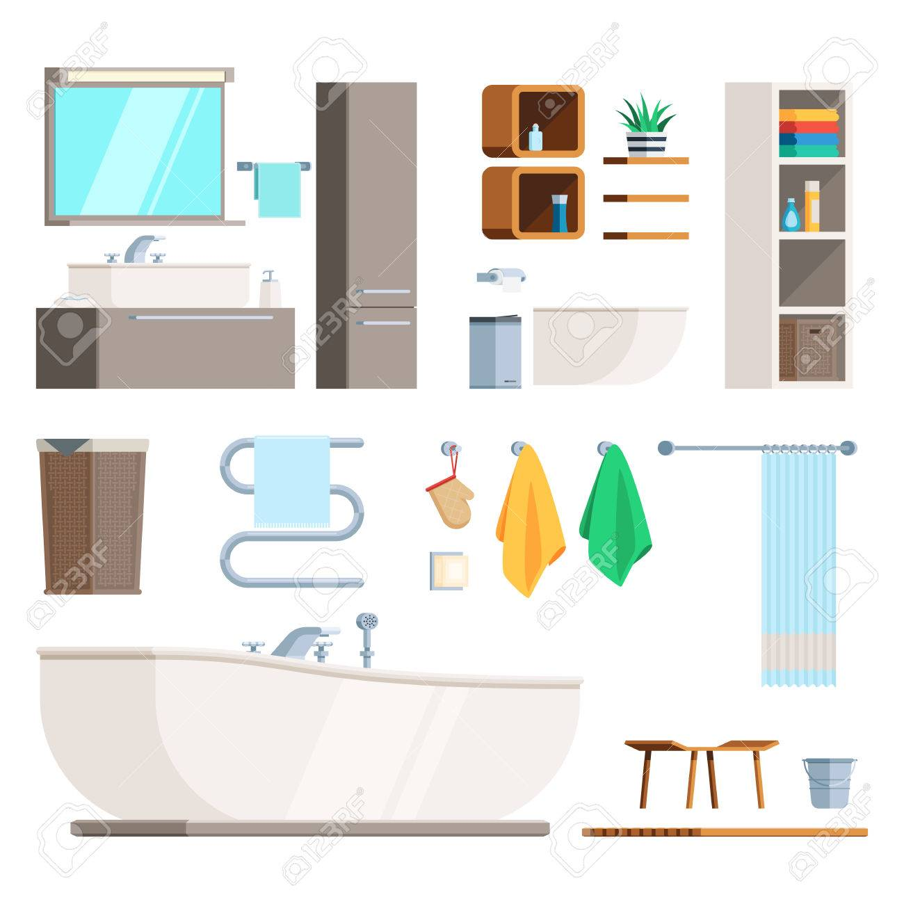 Bathroom Furniture And Equipment Set. A Template To Create A ...
