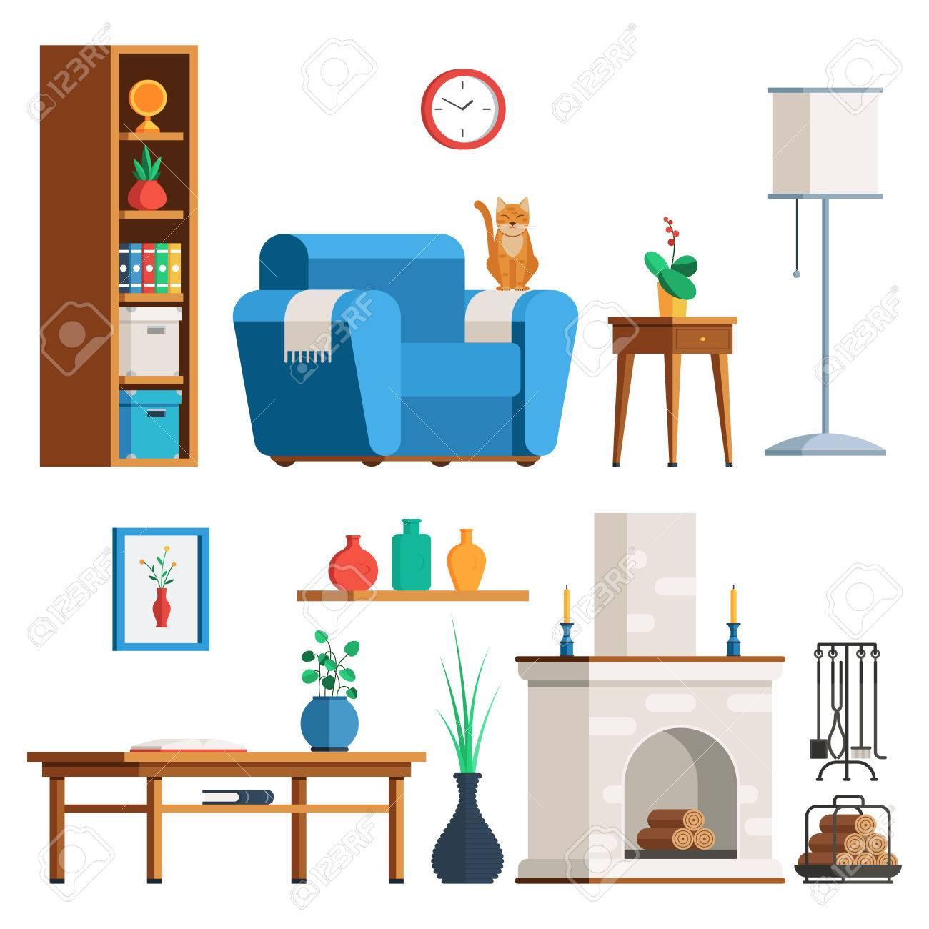 Conjunto De Los Muebles Del Interior. Salón: Lámpara, Mesa De Café ...