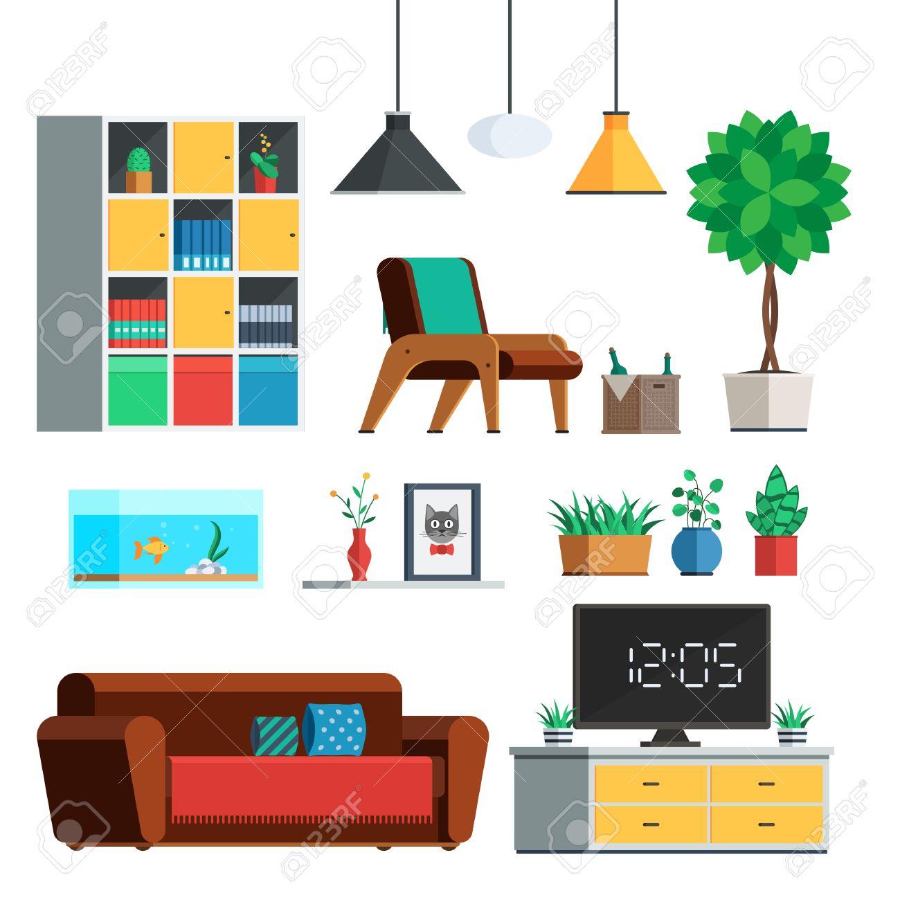 Mobel Innen Gesetzt Wohnzimmer Lampe Schrank Pflanzen Sofa Tv