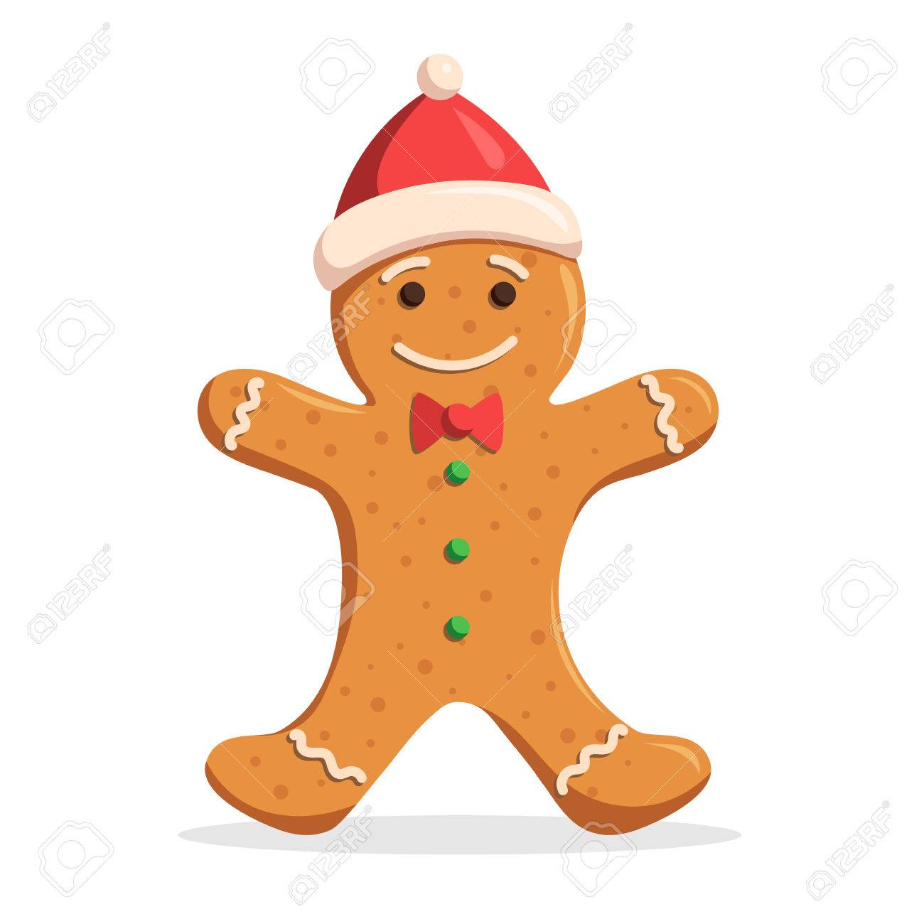 gingerbread man christmas decorations frosting in a santa hat vector illustration isolated on white background