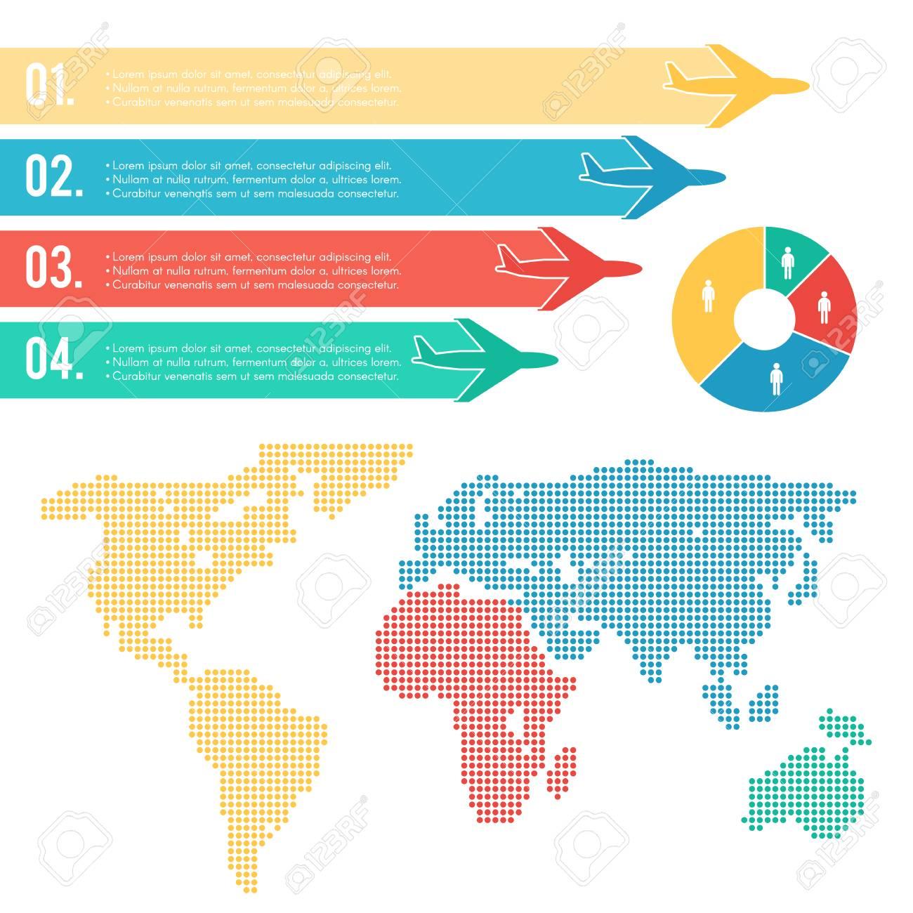 Infographic air travel elements set human world map background infographic air travel elements set human world map background with colorful airplanes gumiabroncs Images