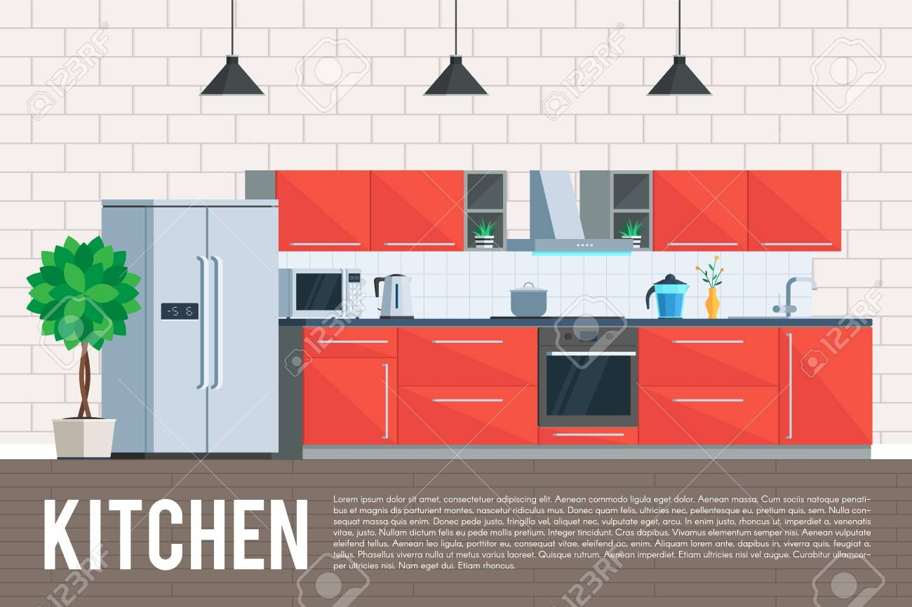 Kitchen Interior Design Furniture And Kitchen Appliances Objects Royalty Free Cliparts Vectors And Stock Illustration Image 64330705