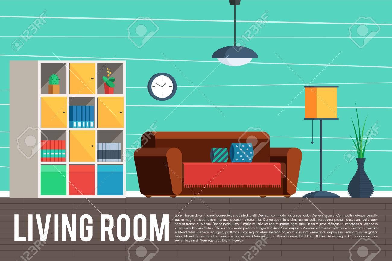 Innenarchitektur Des Wohnzimmers. Möbelgegenstände, Elemente Und ...