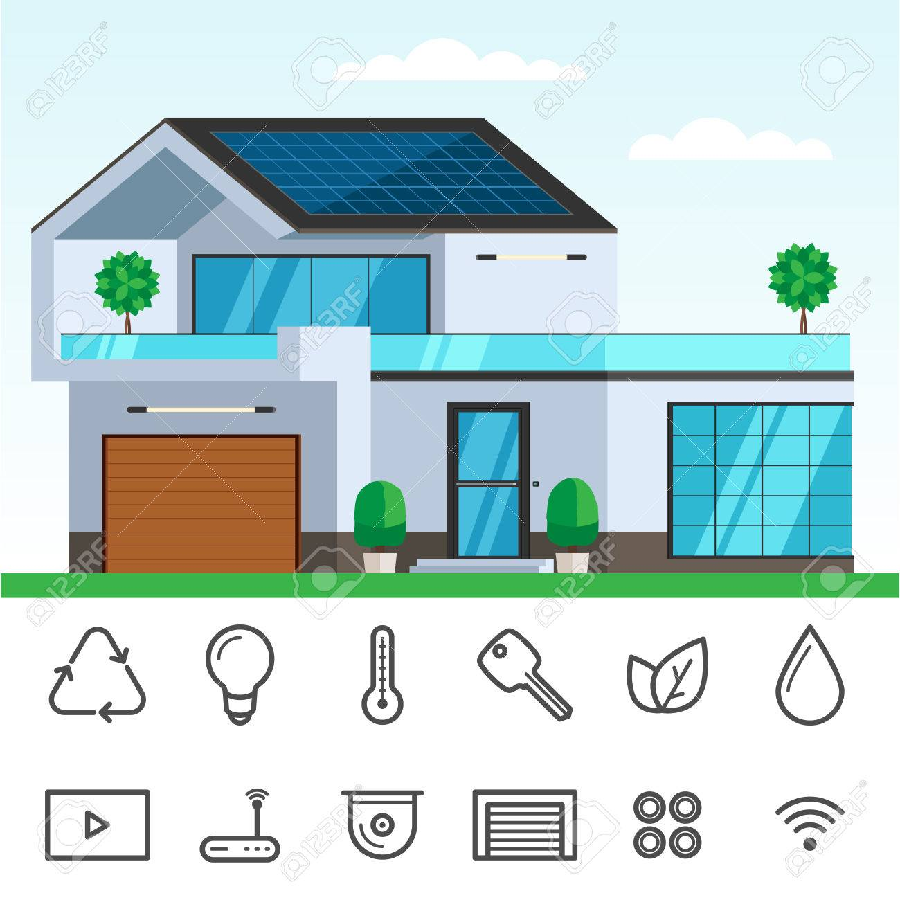 Smart House With Solar Panel On The Roof. Concept Of Ecology House,  Technology Icon