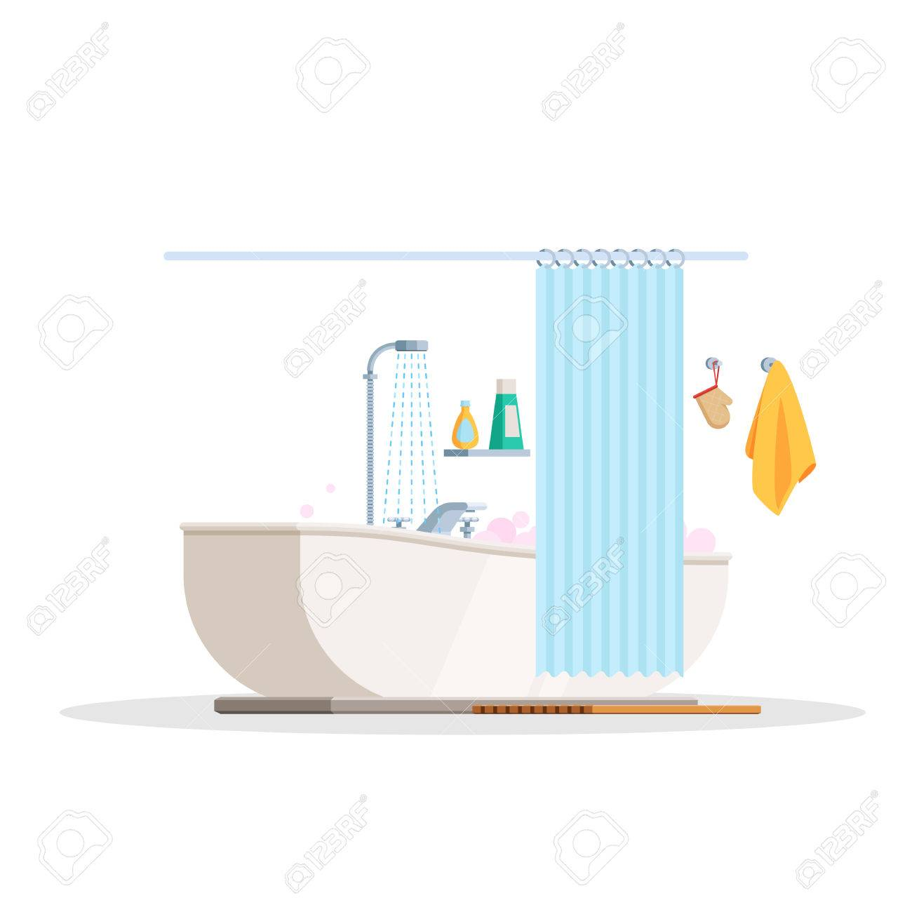 Scene Is A Bathroom Interior Bubble Bath And Shower Curtain Vector Illustration In Trendy
