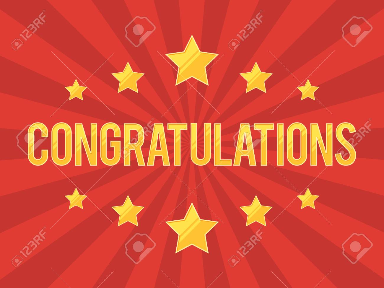 congratulations banner with gold stars on red background vector