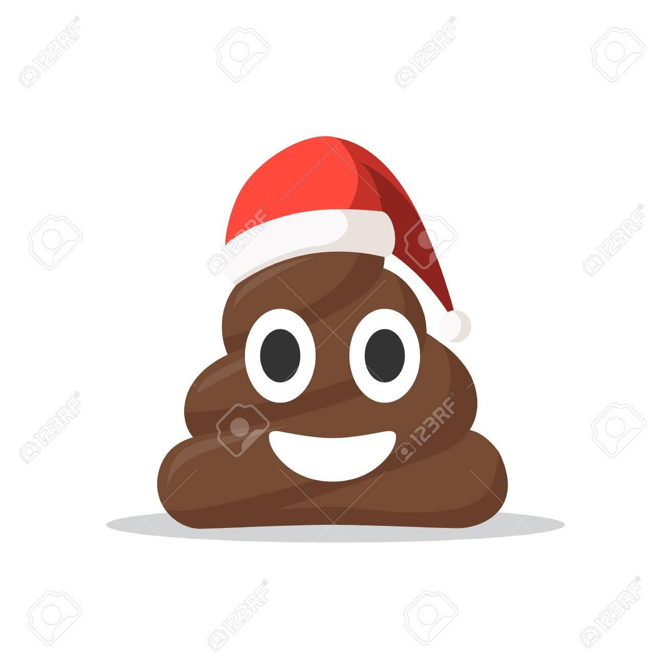 Symbol Emoji Scheiße Gesicht Mit Santa Hut Lächelnd. Weihnachten ...