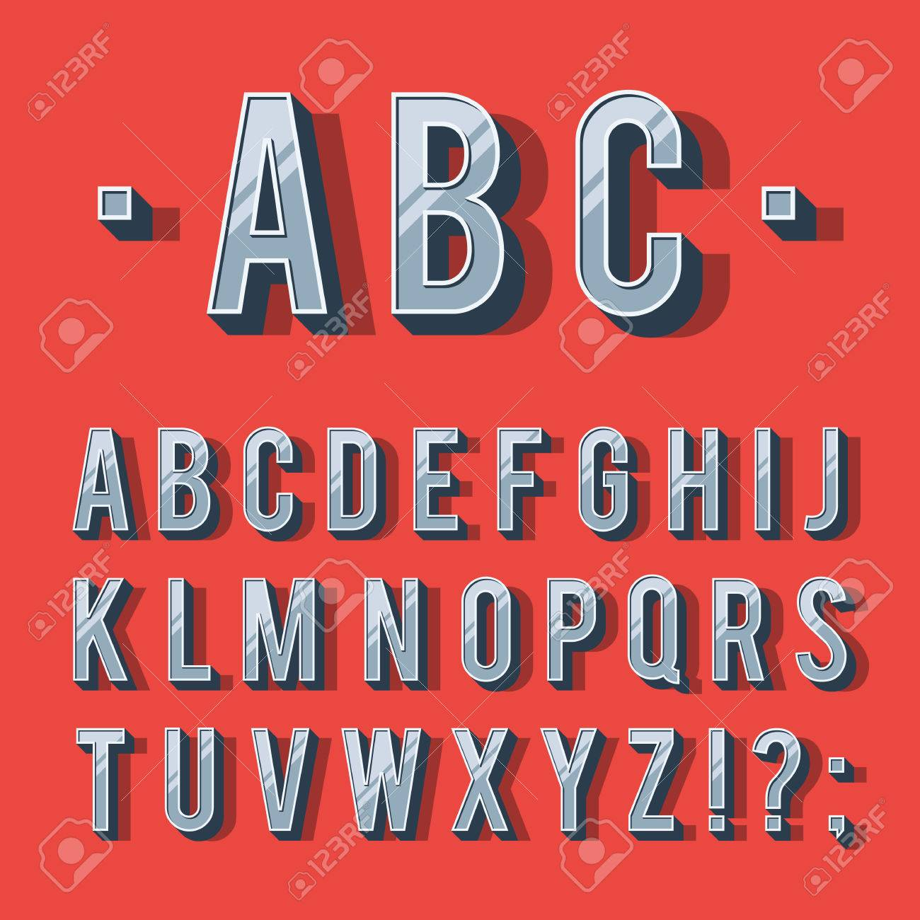 Retro Type Font Vintage Typography Letters Alphabet With Shadow Vector Illustration Template Isolated