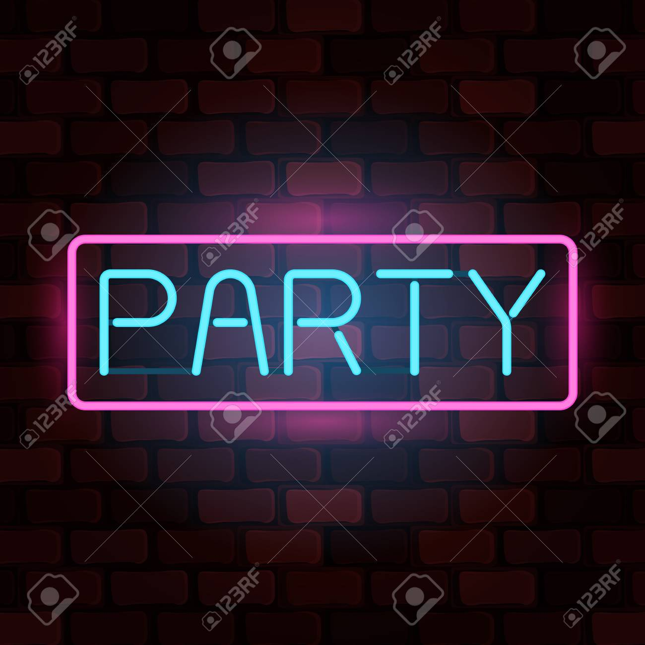 Luminous neon sign party against a brick wall vector illustration luminous neon sign party against a brick wall vector illustration for web banner poster stopboris Choice Image