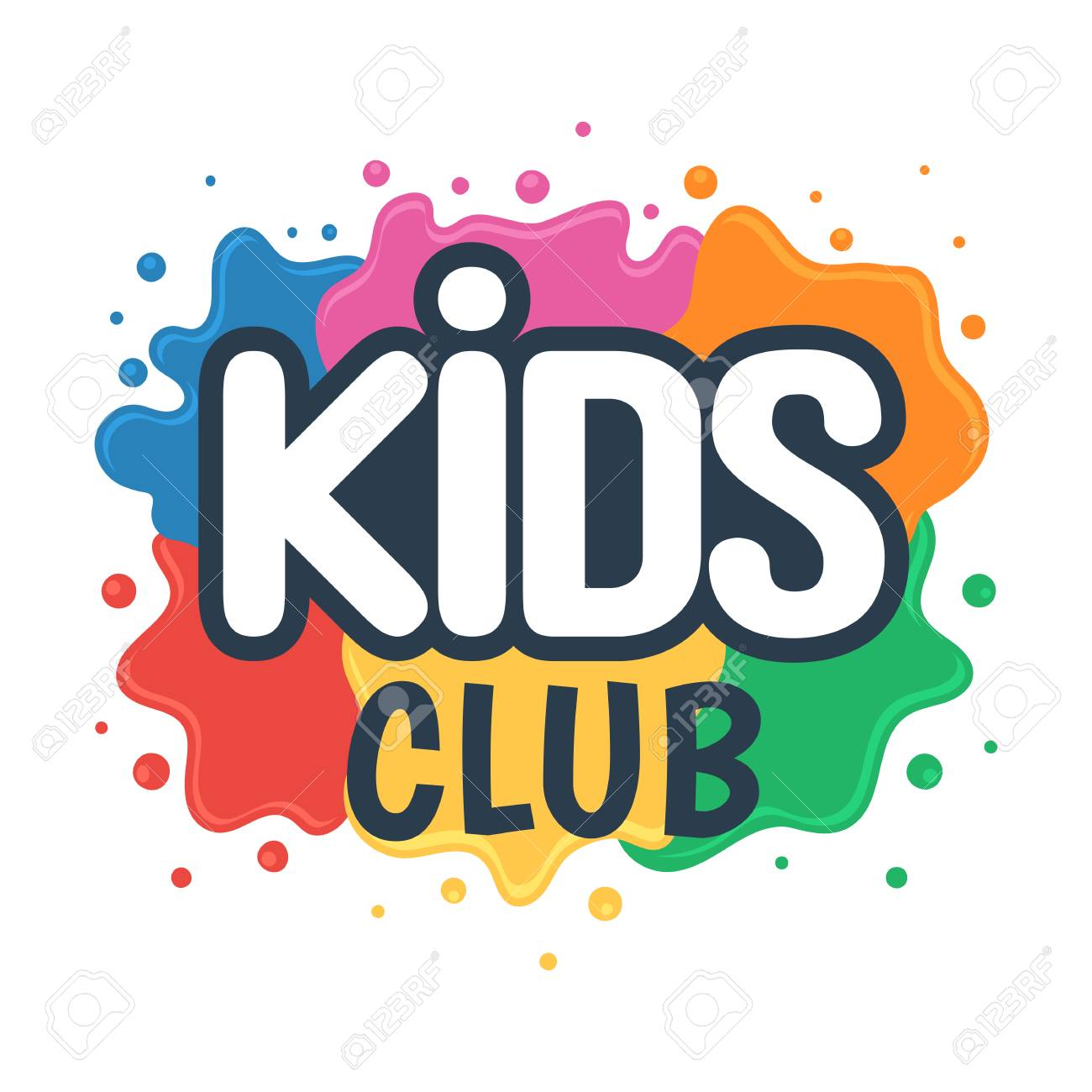 Kids Club Inscription On The Background Of Colored Blots Of Paints