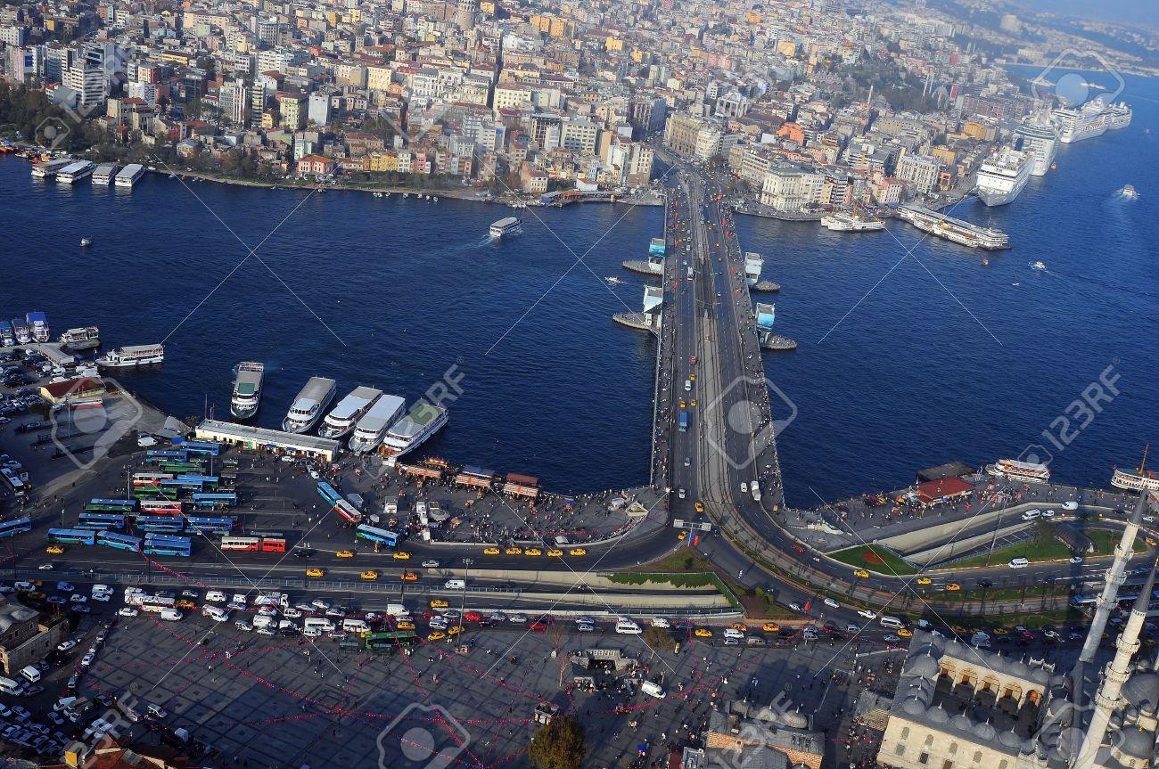 Aerial View Of Golden Horn, The Galata Bridge Istanbul, Turkey ...