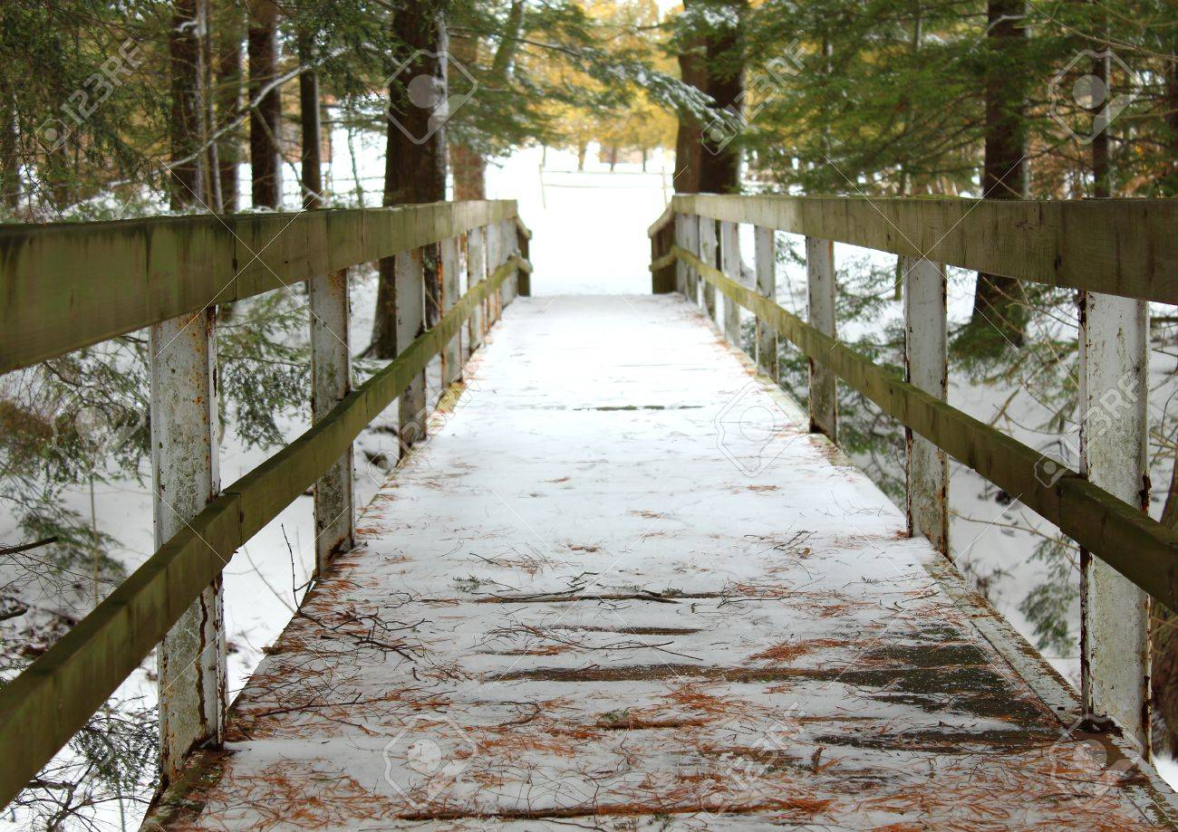Michigan sanilac county lexington - Old Wooden Bridge Crossing Over A Snow Covered Ravine Sanilac County Park Lexington Michigan Stock