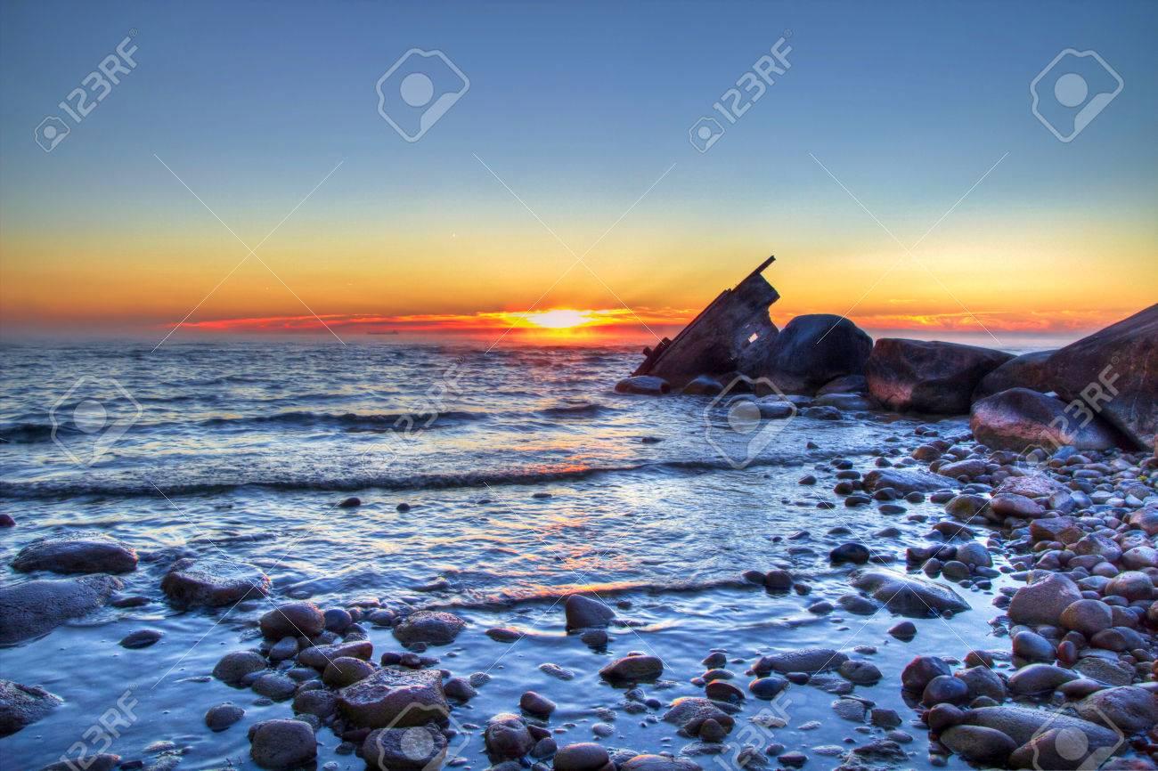 Michigan sanilac county lexington - Shipwreck Washed Up On A Deserted Lake Huron Beach Sanilac County Park Lexington Michigan Stock