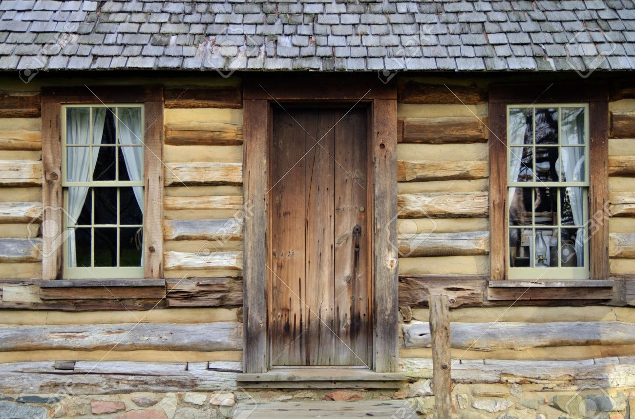 Front Door And Porch Of A Historical Log Cabin Pt Sanilac Historical ...