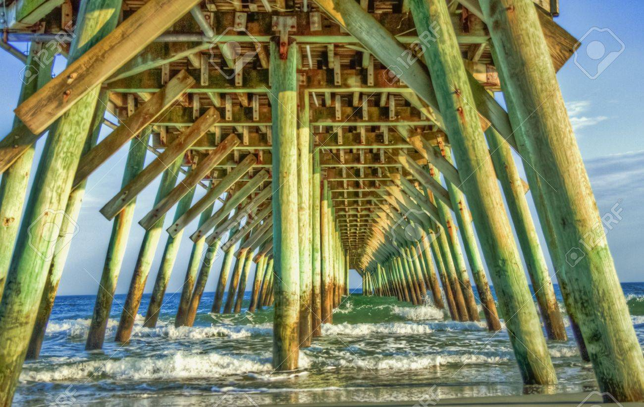 Under The Boardwalk In Myrtle Beach South Carolina Stock Photo