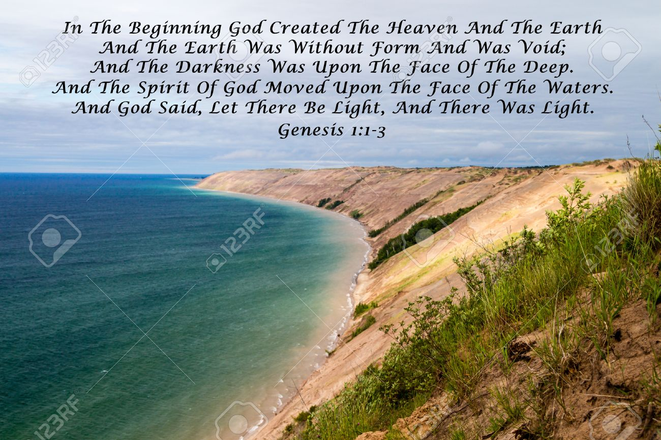 In The Beginning Quote From The Book Of Scriptures With A Large