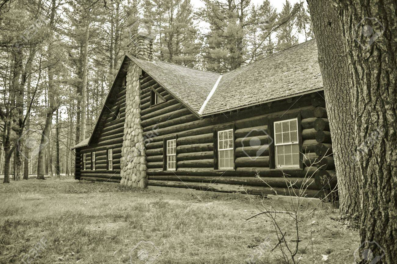 Historical Log Cabin  Exterior wall and chimney of historical