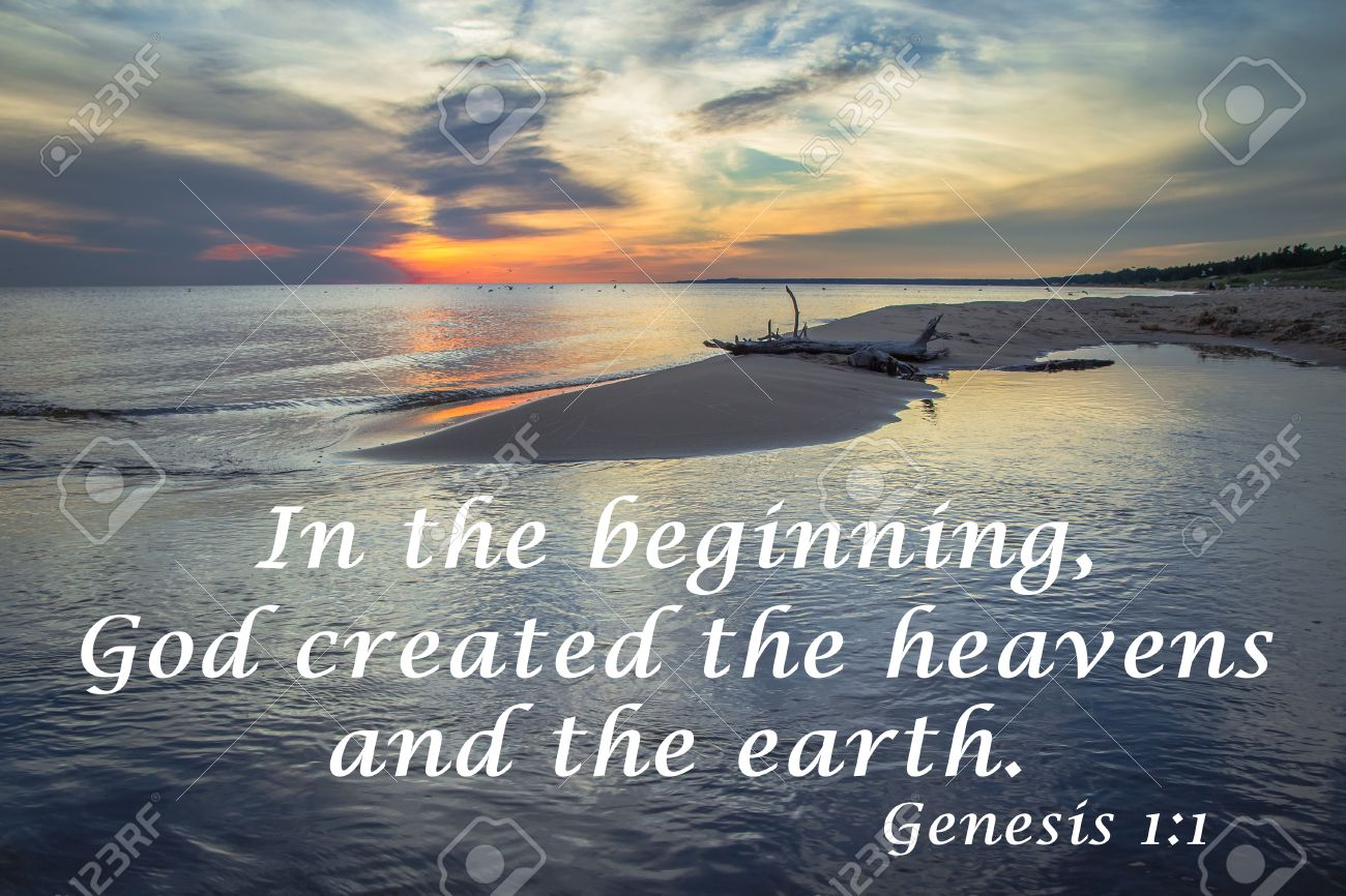 In The Beginning Sunset Horizon Over The Water With Quote From