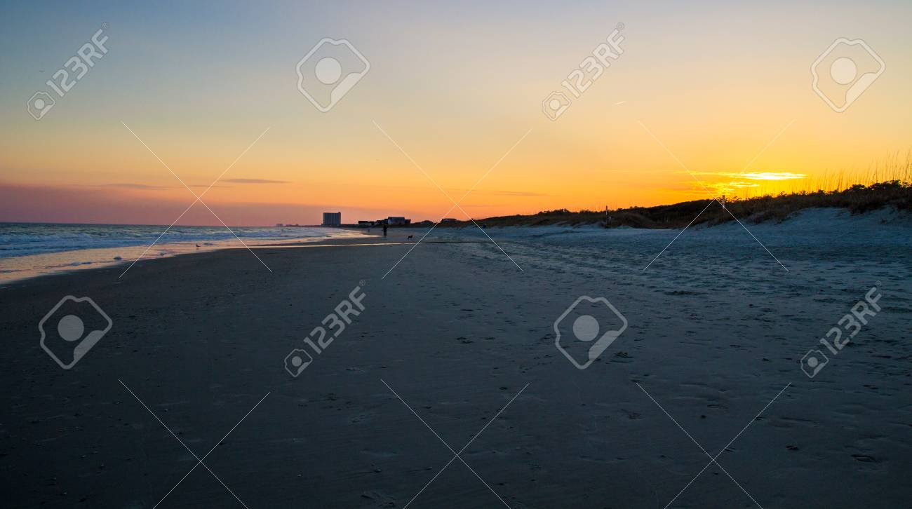 Sunset Beach In Myrtle South Carolina On The Shores Of Wide