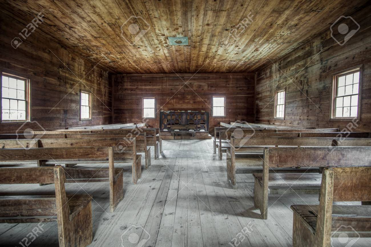 Country Church Interior Of The Cades Cove Primitive Baptist In Great Smoky