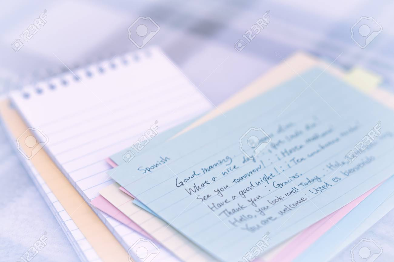 Spanish learning new language writing greetings on the notebook spanish learning new language writing greetings on the notebook stock photo 86792811 m4hsunfo