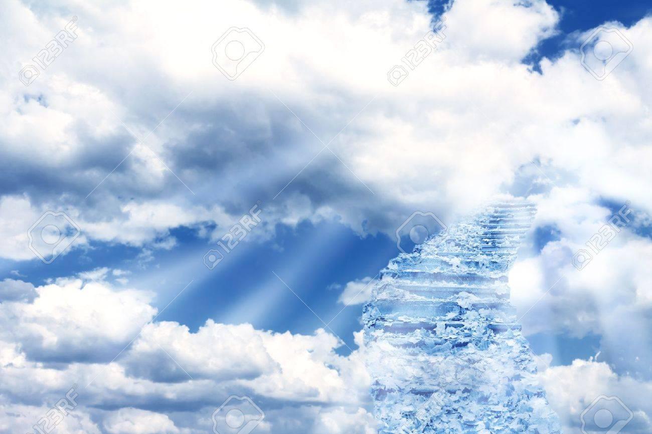 Fantasy landschap met magische trap in de hemel royalty vrije foto ...