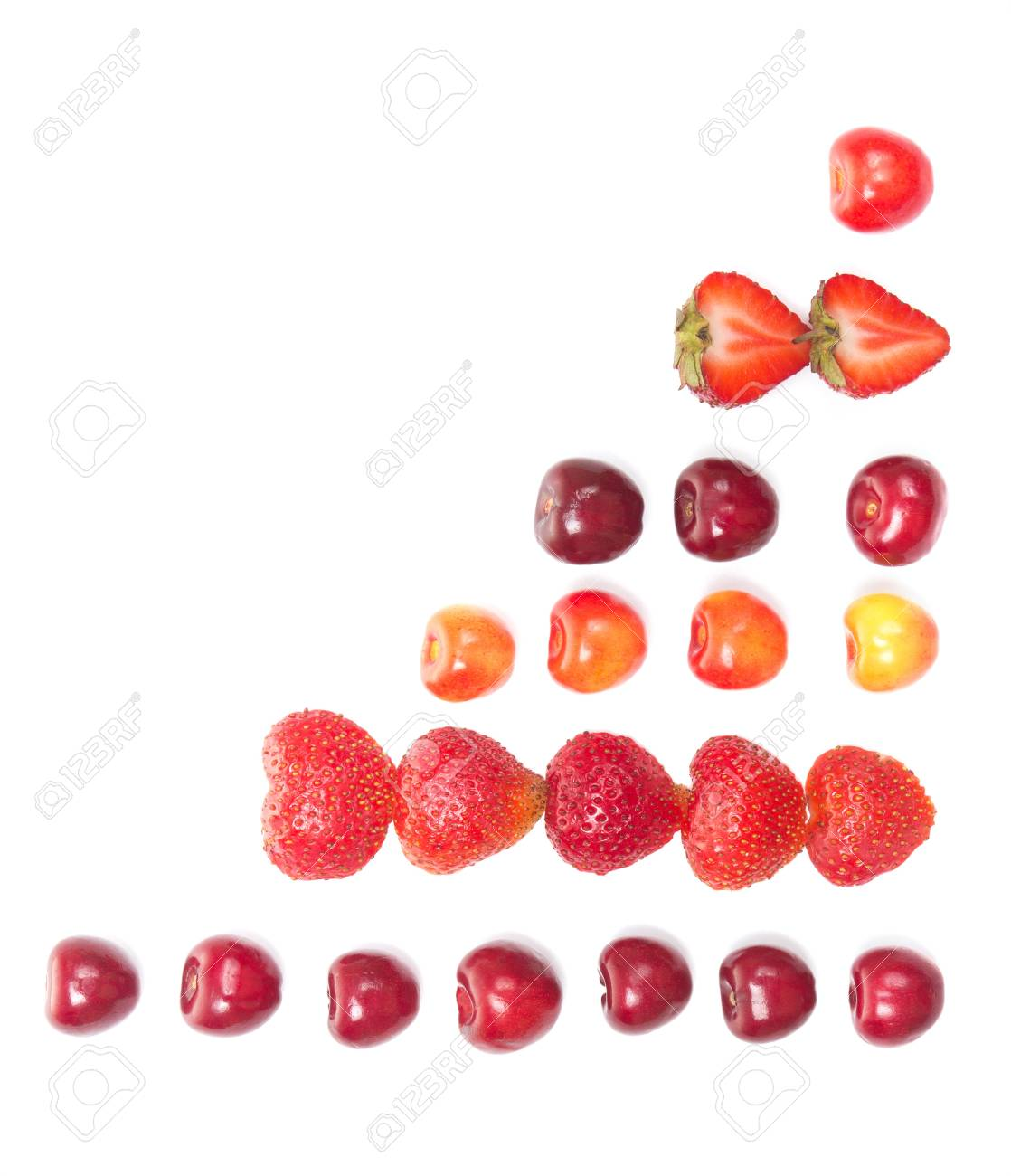 diagram shaped from fresh cherries and strawberries on white background  stock photo - 14403631