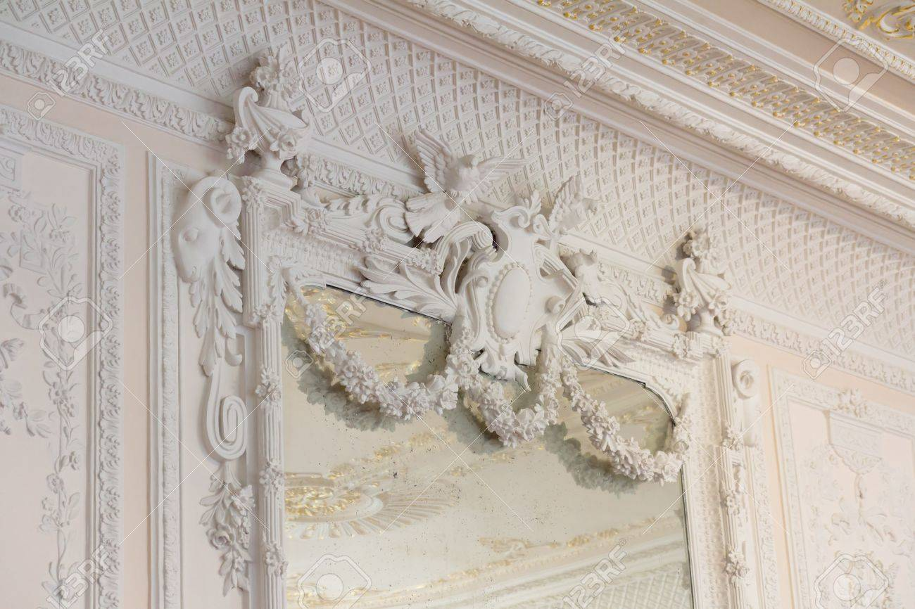 stock photo white antique mirror frame molding in a palace