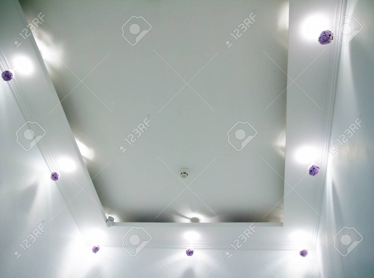 White Ceiling With Small Round Ceiling Lamps And Hidden Ceiling Stock Photo Picture And Royalty Free Image Image 73253116