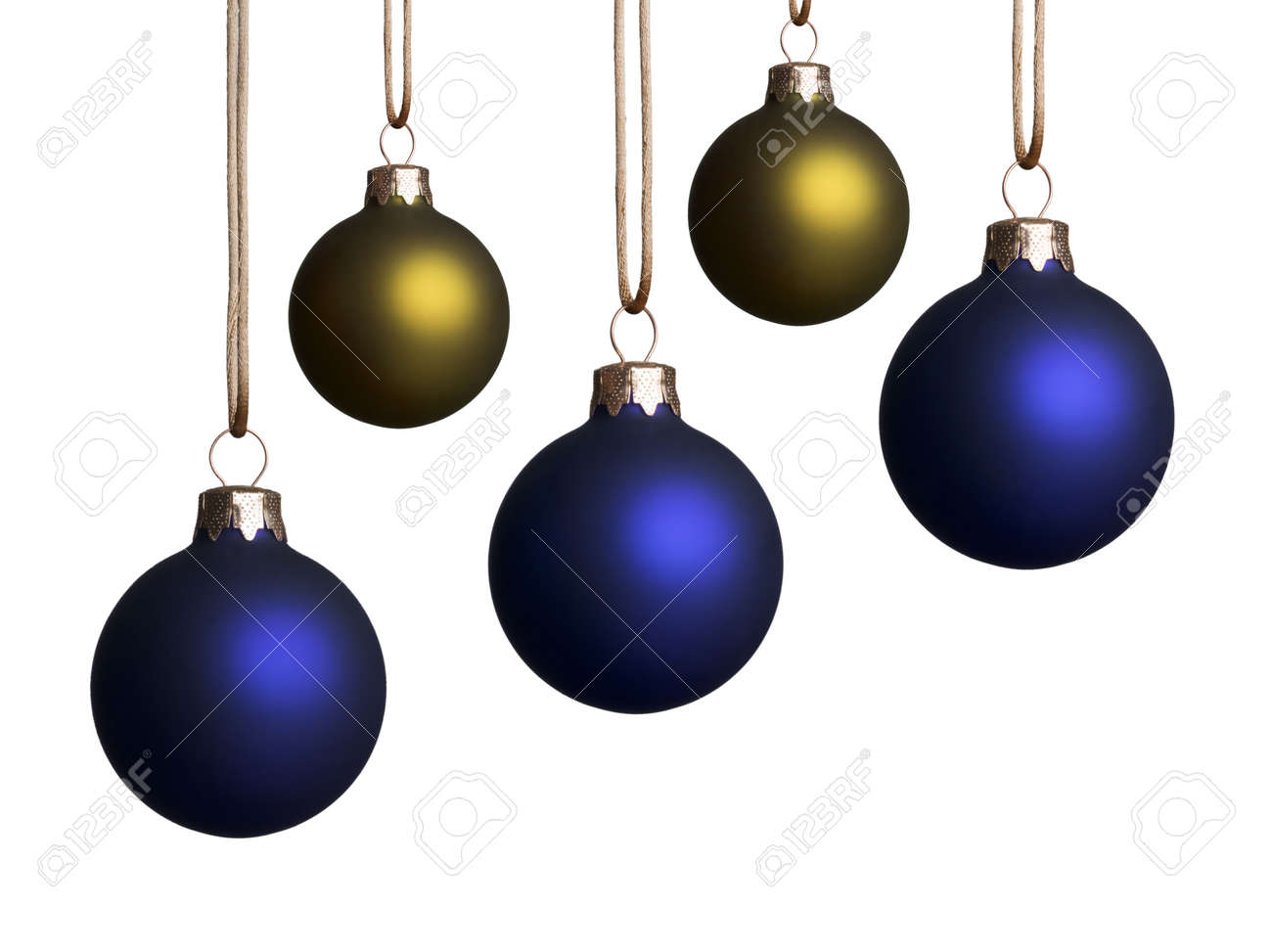 Blue and gold christmas tree decorations - Five Blue And Gold Christmas Ornaments Hanging Isolated On A White Background Stock Photo