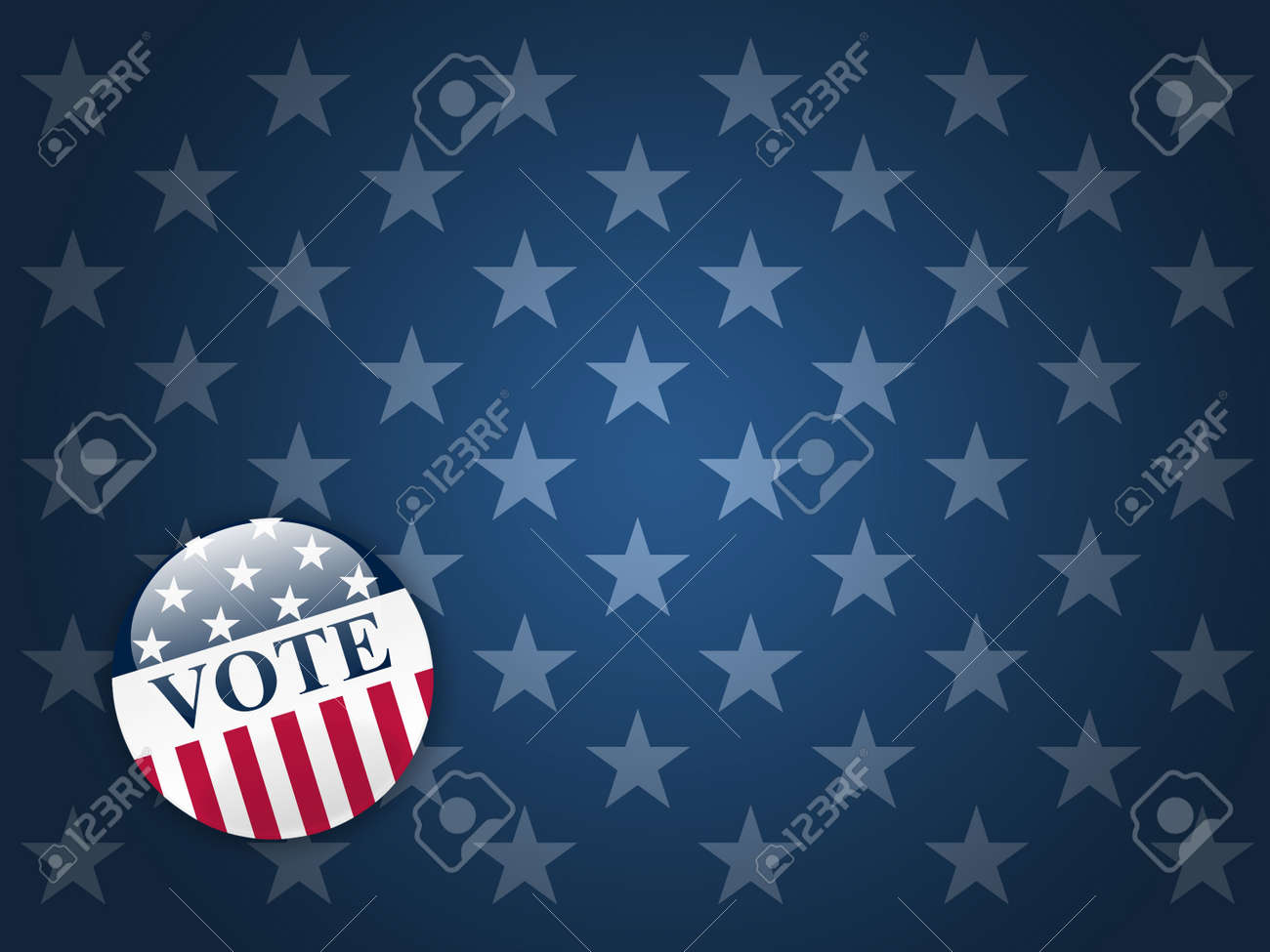 desktop background with blue stars and vote button stock photo