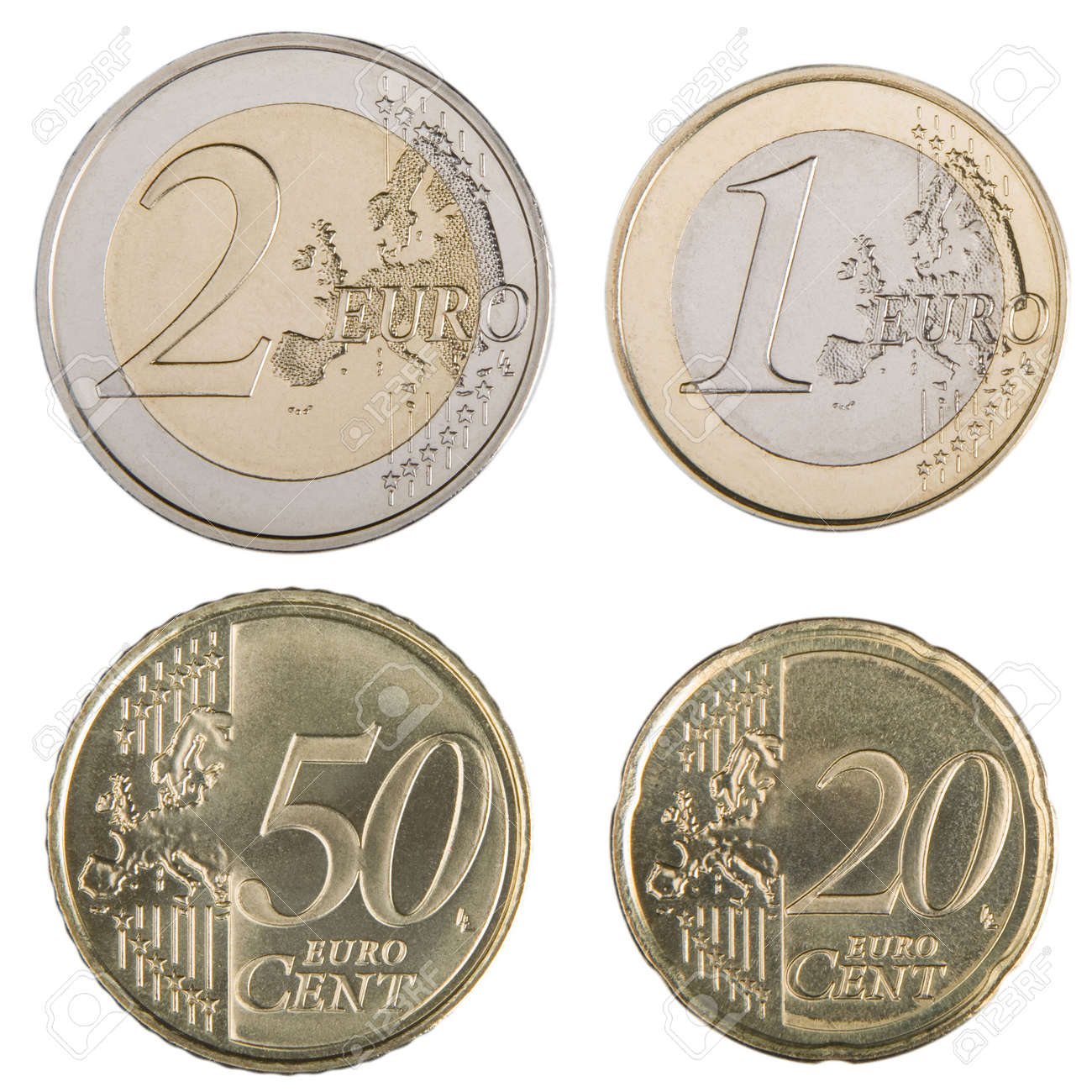 Close Up Der Uncirculated 1 Und 2 Euro Und 20 Euro Und 50 Cent