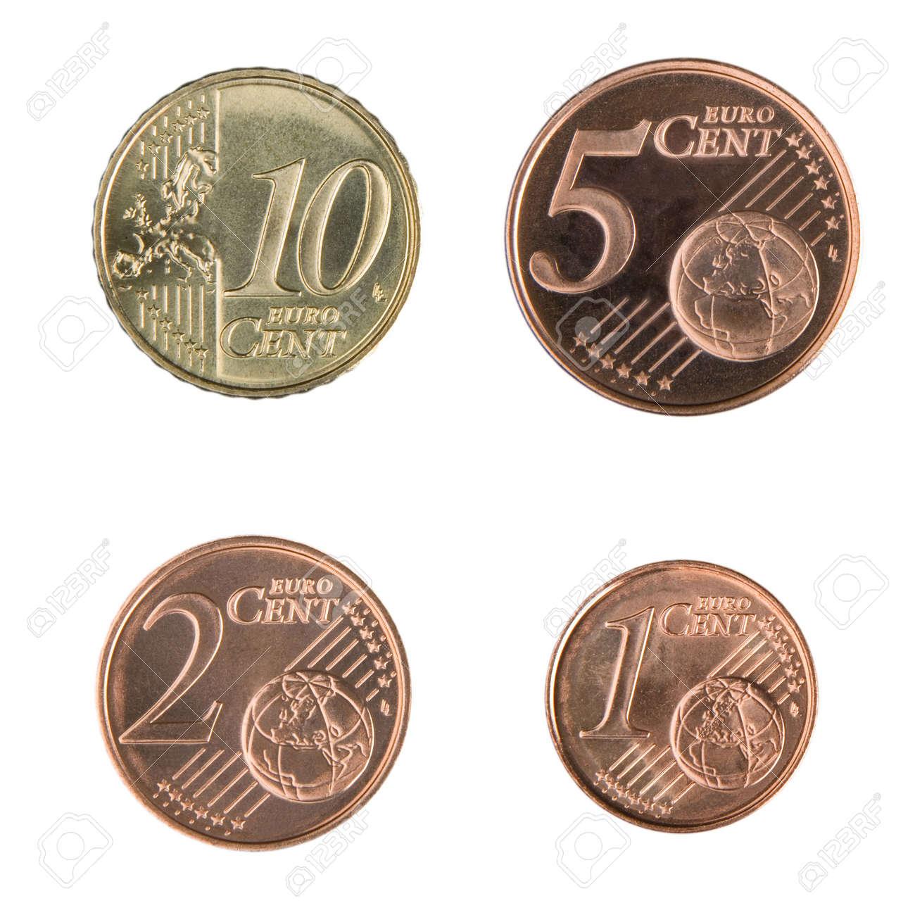 Close Up Von Unzirkuliert 1 2 5 Und 10 Euro Cent Münzen