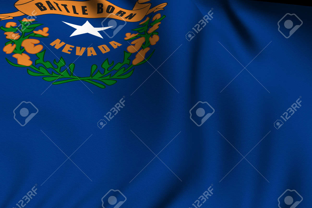 Rendering of a waving flag of the US state of Nevada with accurate colors and design and a fabric texture. Stock Photo - 3547952