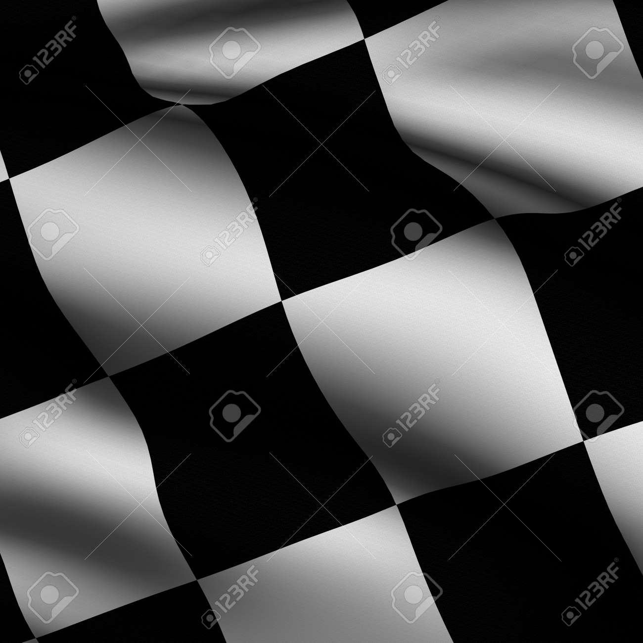 Rendering of a waving chequered flag with accurate colors and design and a fabric texture in a square format. Stock Photo - 3636503