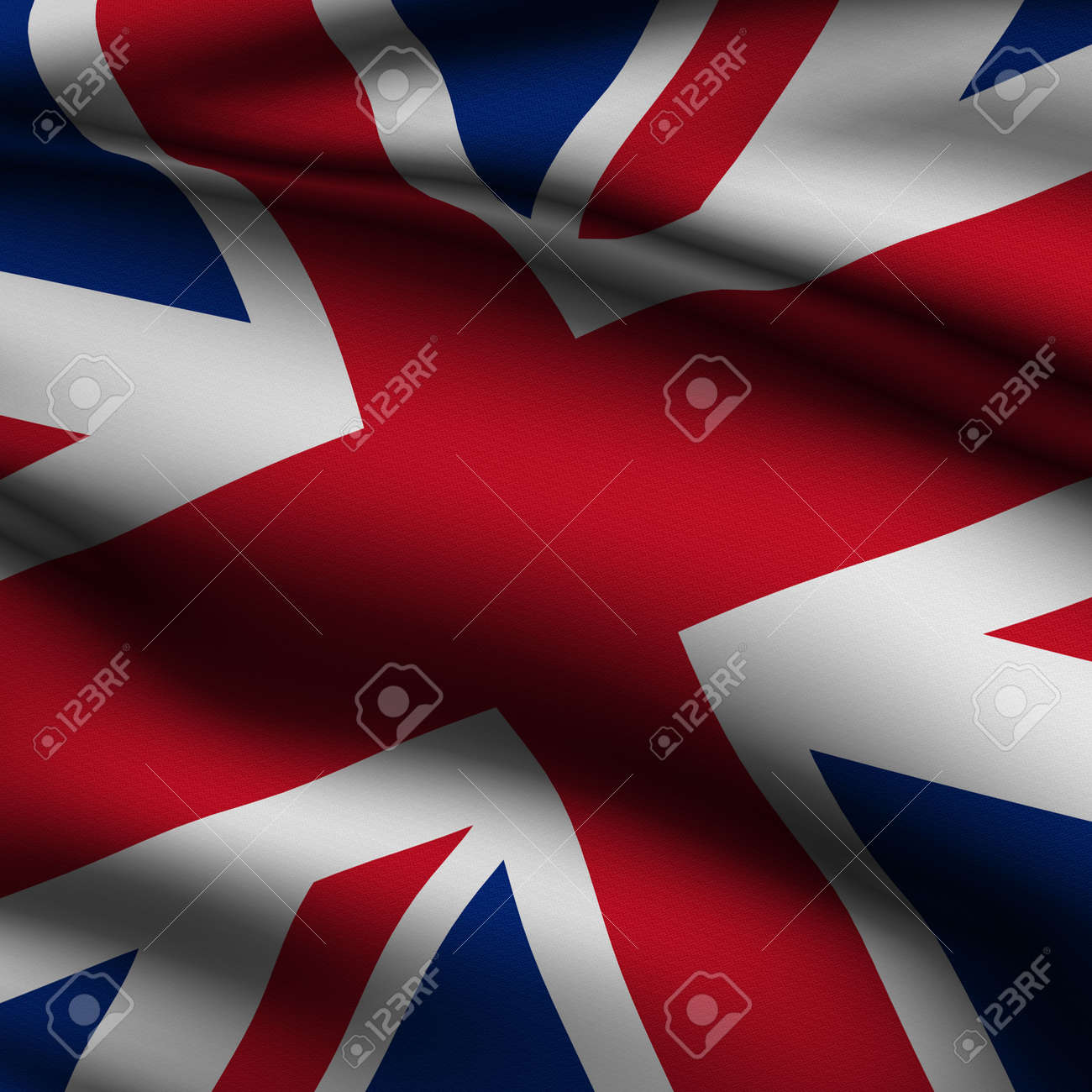 Rendering of a waving flag of the United Kingdom with accurate colors and design and a fabric texture in a square format Stock Photo - 3660822