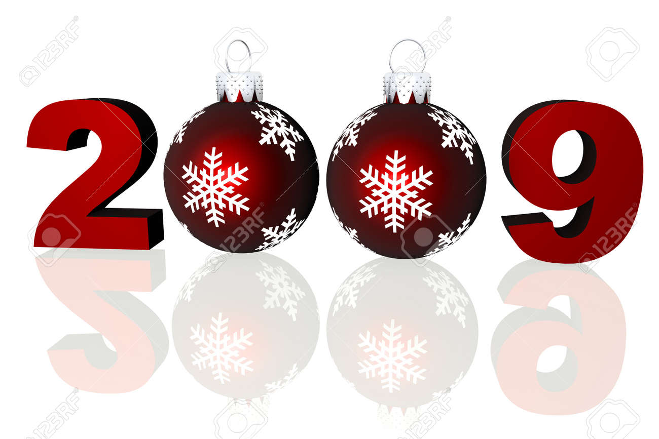 Rendered 2009 numbers with two red Christmas ornaments on a reflective surface. Stock Photo - 3768645