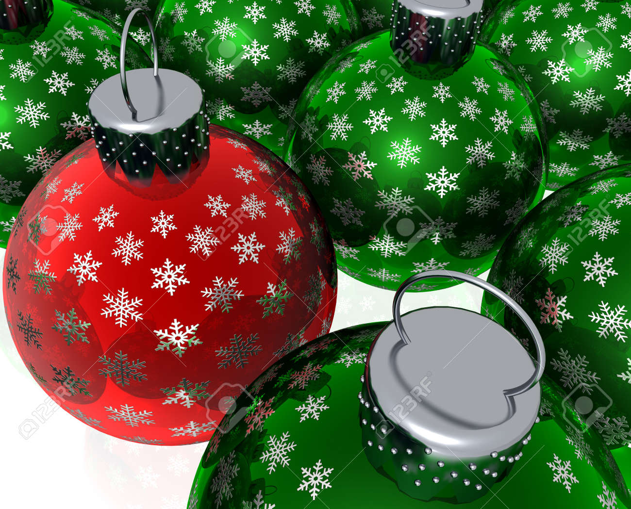 Red glass christmas ornaments - 3d Rendering Of Red And Green Glass Christmas Ornaments Stock Photo 3837465