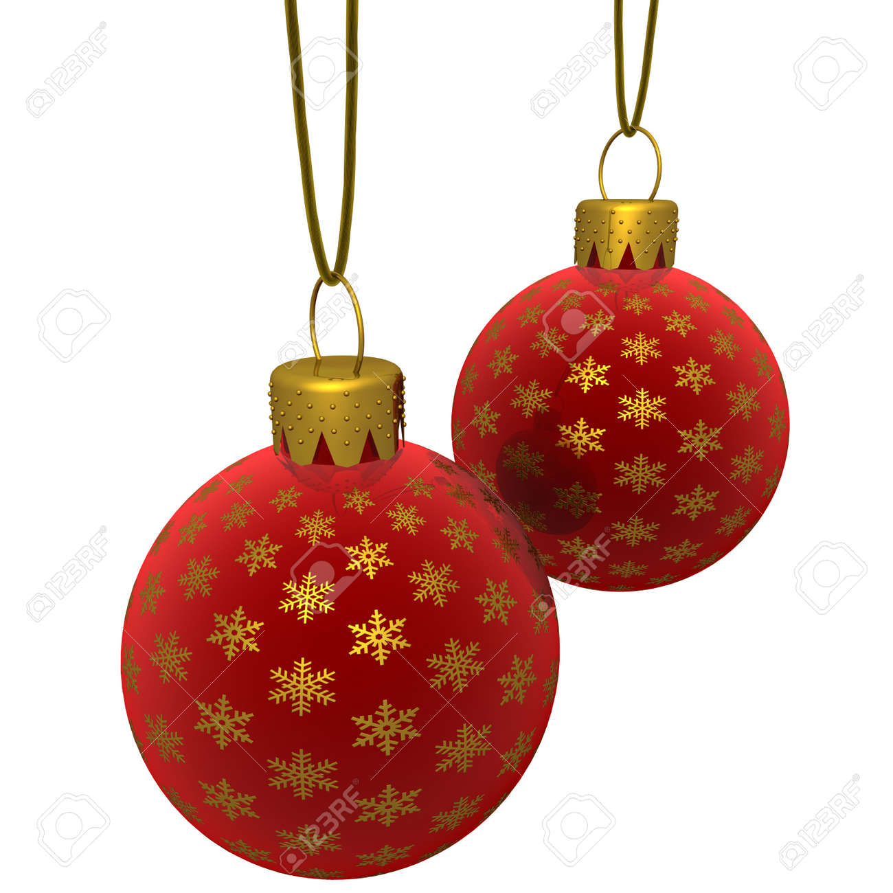 Red glass christmas ornaments - 3d Rendering Of A Hanging Red Glass Christmas Ornaments With Golden Snowflakes Isolated On A White