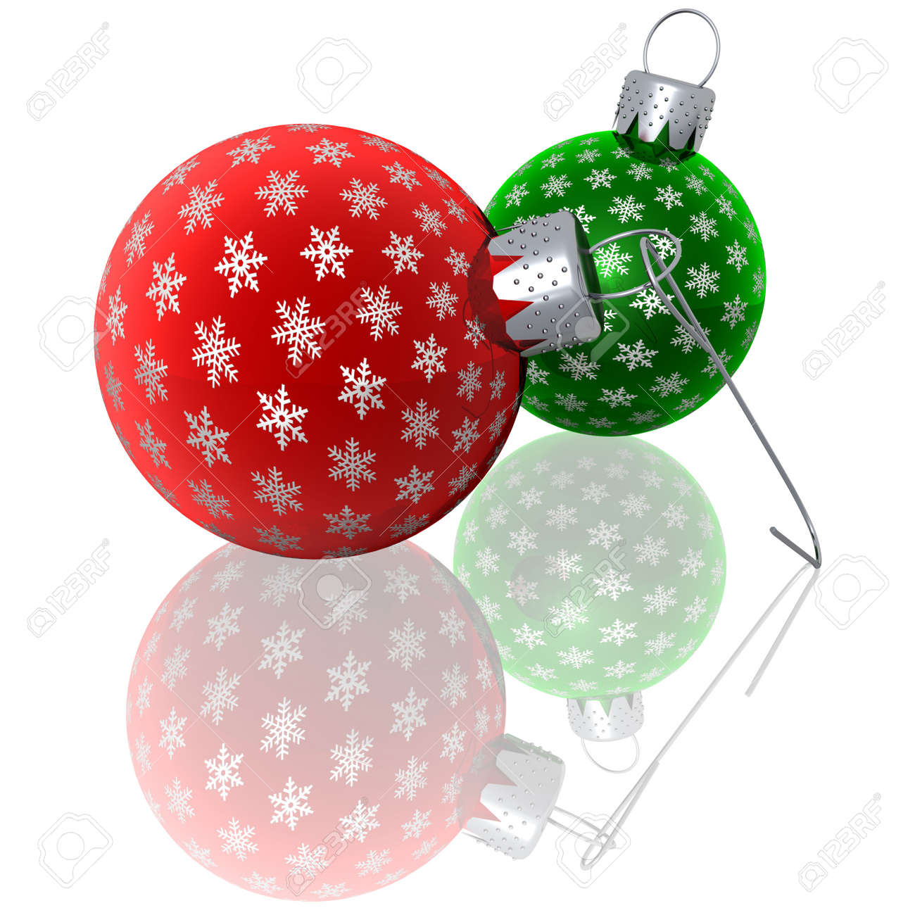 Red glass christmas ornaments - 3d Rendering Of Red And Green Glass Christmas Ornaments With Silver Snowflakes Lying On A Reflective