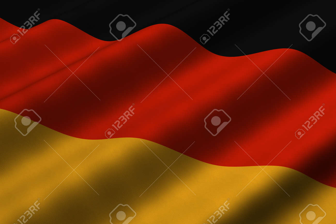 Detailed 3d rendering closeup of the flag of Germany.  Flag has a detailed realistic fabric texture. Stock Photo - 4959414