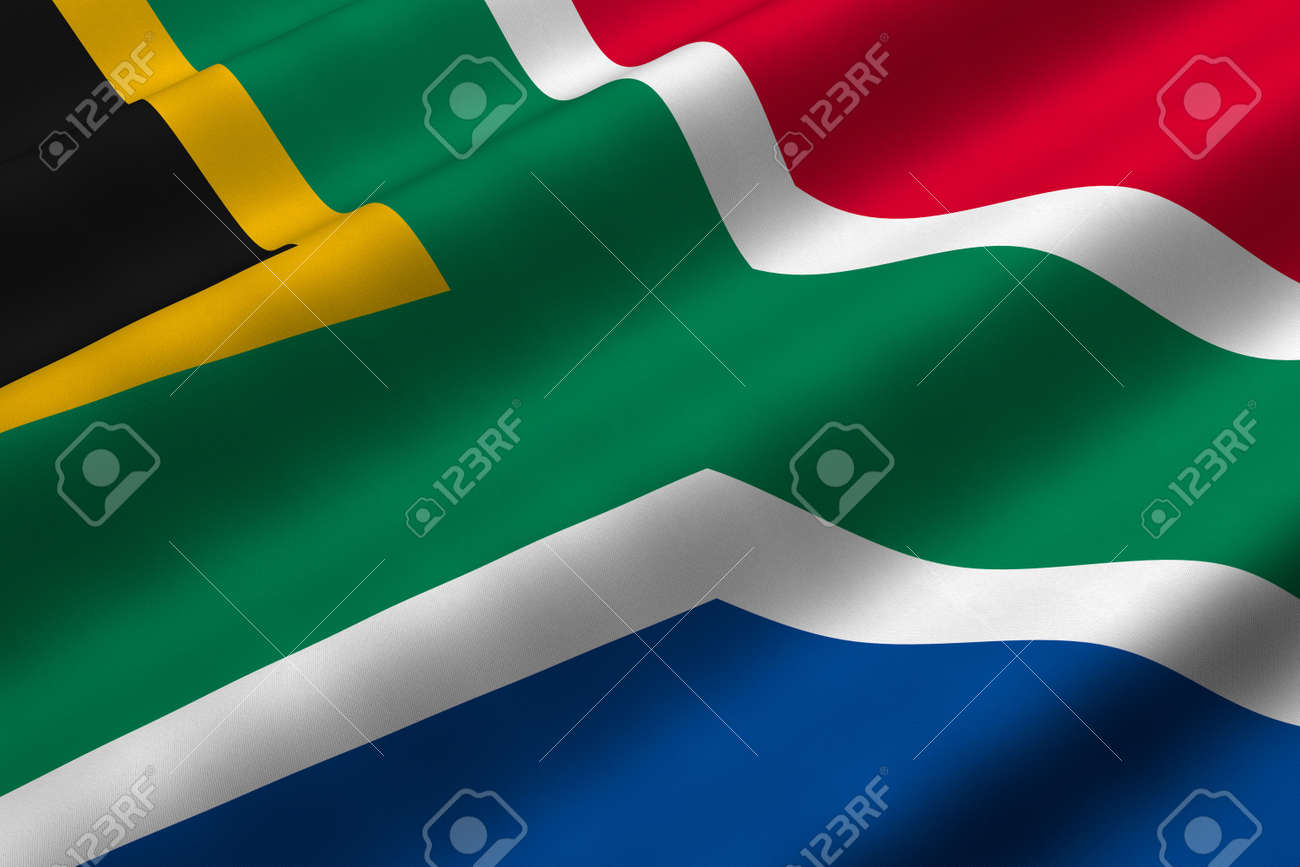 Detailed 3d rendering closeup of the flag of South Africa.  Flag has a detailed realistic fabric texture. Stock Photo - 5193217