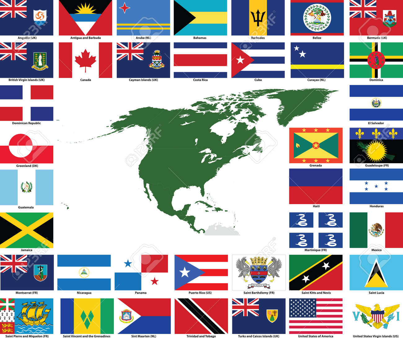 Set of flags and maps of all North and Central American countries..