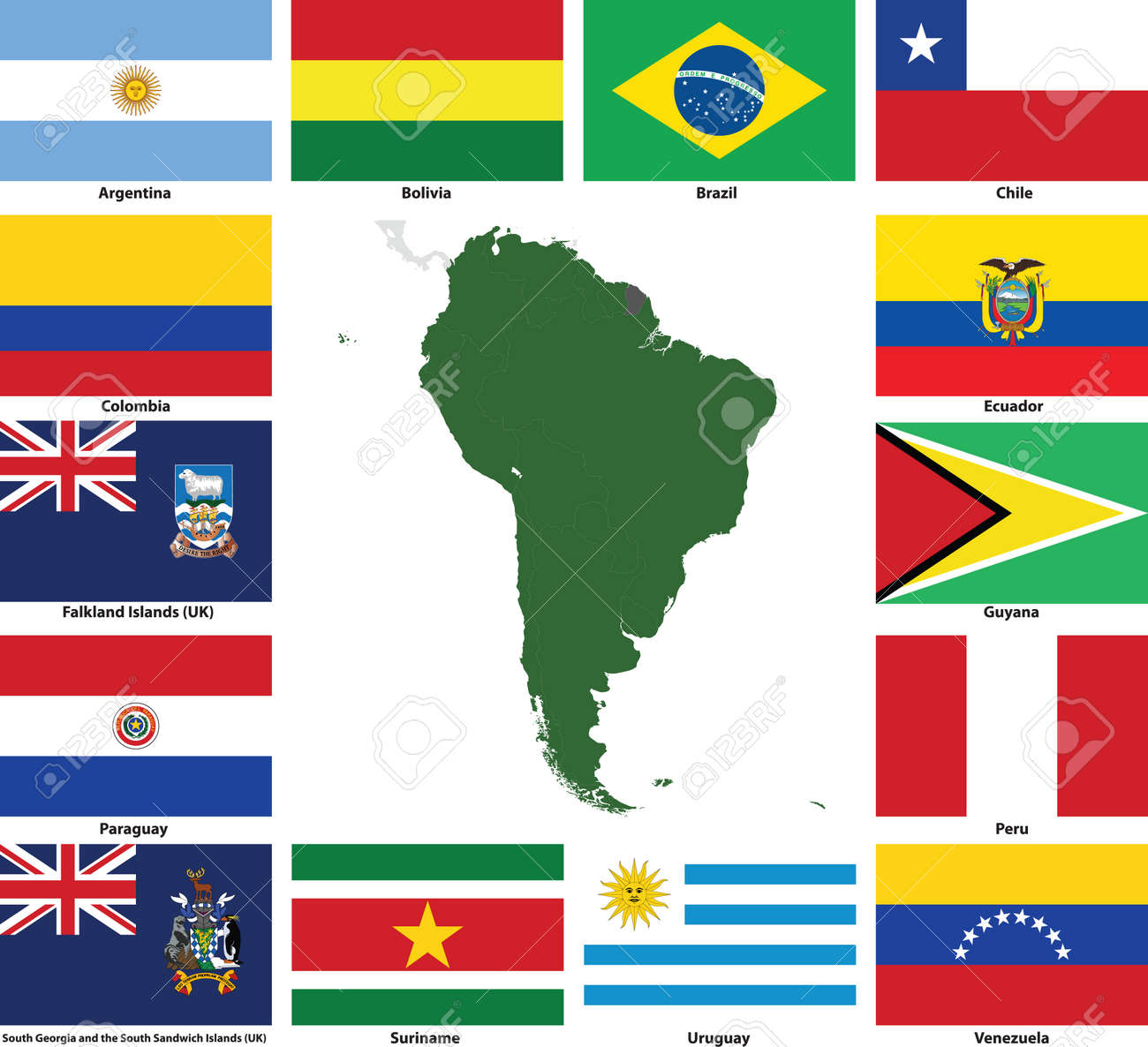 Set Of Flags And Maps Of All South American Countries And - South america map and flags