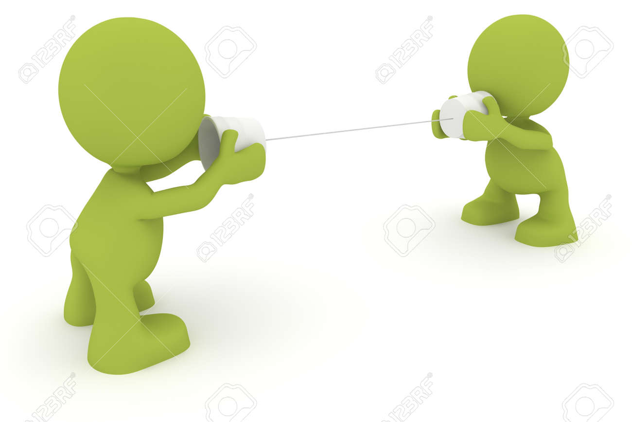 Illustration of two people talking using cups and string.  Part of my cute green man series. Stock Photo - 8597261