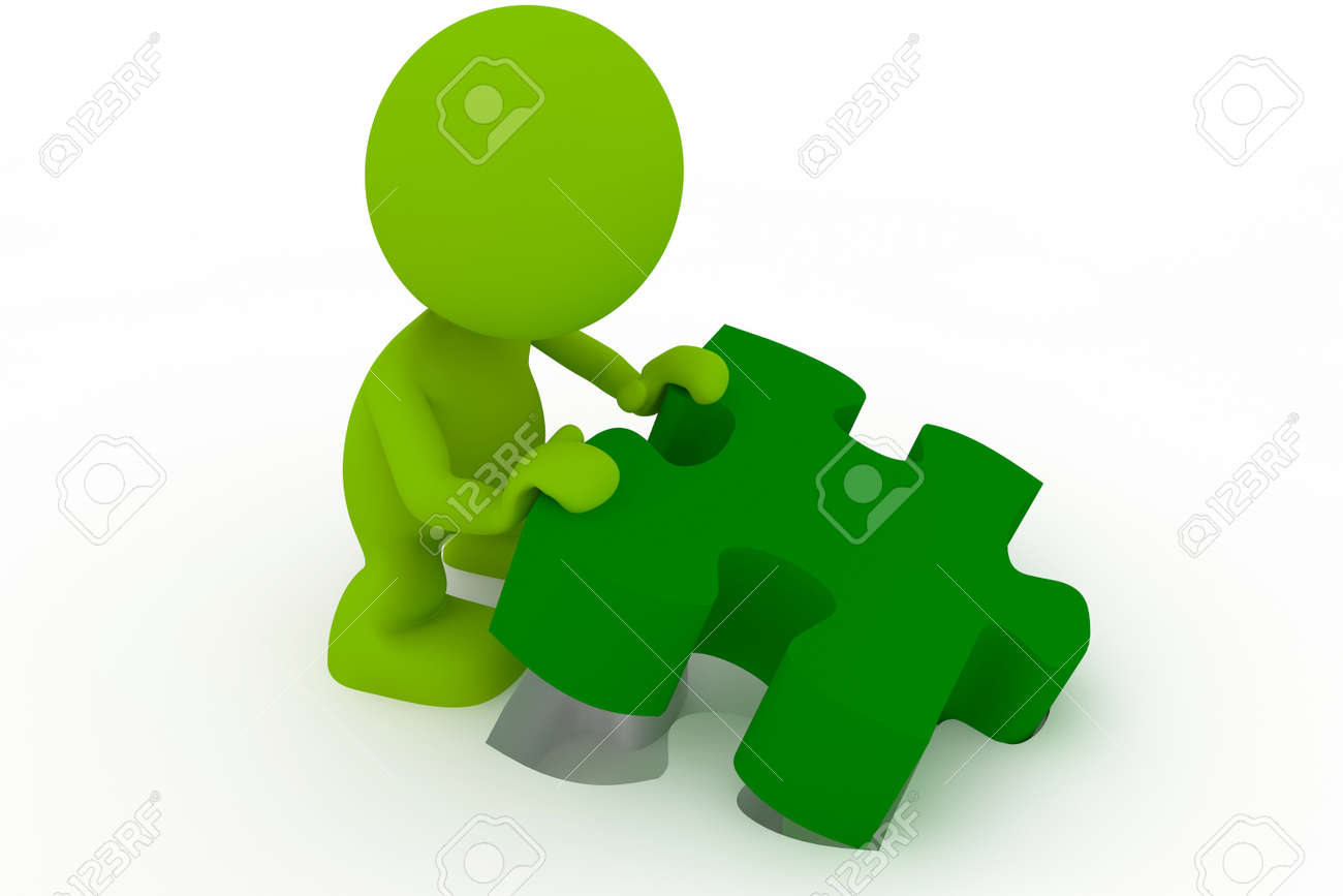 Illustration of a man placing the final piece of a puzzle.  Part of my cute green man series. Stock Illustration - 8597268