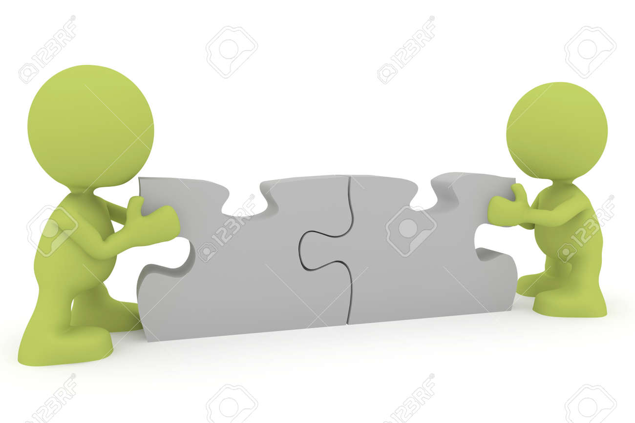 Illustration of two people putting together puzzle pieces.  Part of my cute green man series. Stock Illustration - 8617775