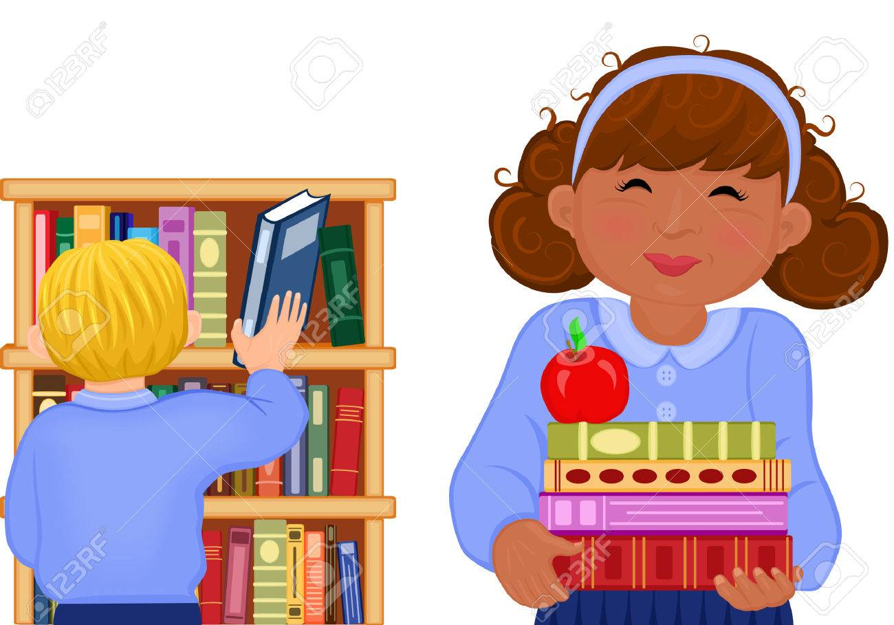 Illustration of multiracial children studying at the school library. Vector AI 8. Stock Vector - 5292408