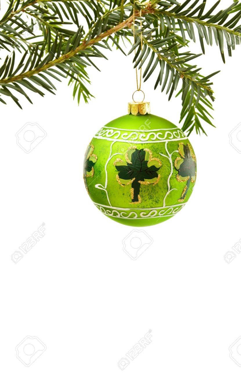 Irish Christmas.Irish Christmas Border With Shamrock And Green Bauble